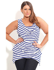 Stripe Cowl Blues Top by City Chic