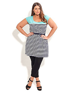 Sliced Stripe Tunic by City Chic