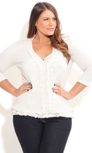Cute Lace Trim Cardigan