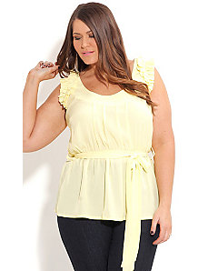 Ruffle Shoulder Top by City Chic