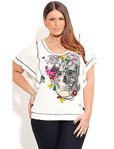 Daisy Skull Grafitti Top by City Chic