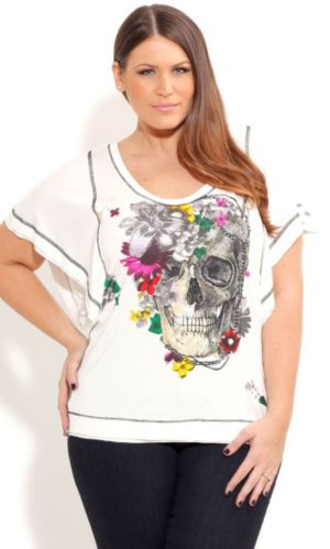 Daisy Skull Grafitti Top