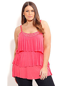 Bead Neck Tiered Top by City Chic