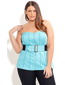 Lace Trim Zip Corset by City Chic