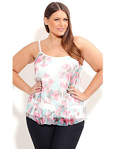 Blush Print Crushed Top by City Chic