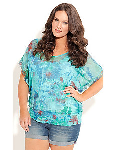 Crushed Blues Top by City Chic