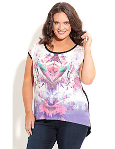 Hi Lo Daze Graffiti Top by City Chic