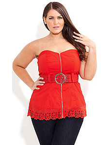 Broderie Trim Corset by City Chic
