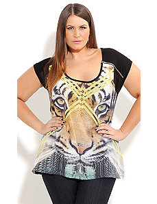 Jungle Tiger Graffiti Top by City Chic
