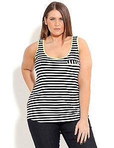 Stripe Color Trim Tank by City Chic