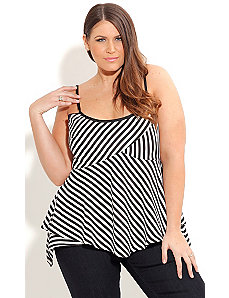Strappy Stripe Panel Top by City Chic