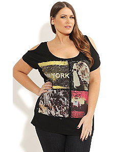 New York Love Graffiti Top by City Chic