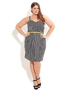 Monotone Stripe Dress with Belt by City Chic