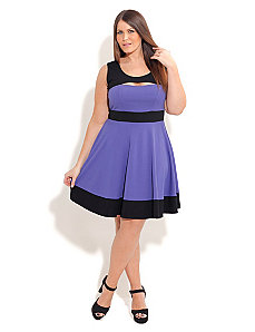 Peek A Boo Skater Dress by City Chic