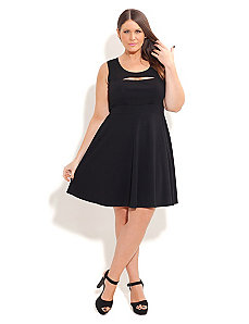 Peek A Boo Solid Skater Dress by City Chic