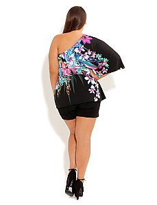 One Shoulder Tropical Top by City Chic