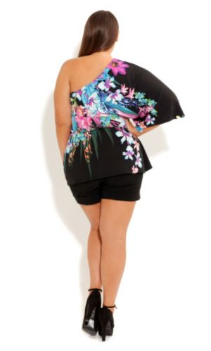 One Shoulder Tropical Top
