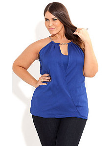 Peekaboo Neck Top by City Chic