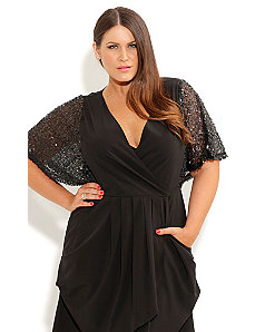 Sequin Shoulder Tunic by City Chic