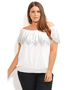 Sequin Flutter Top by City Chic
