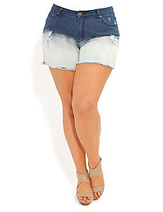 Denim Dip Dye Short Shorts by City Chic