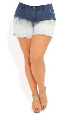 Denim Dip Dye Short Shorts