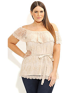 Lace Frill Top by City Chic