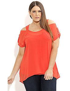 Cold Shoulder Button Top by City Chic