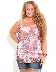 Crushed Camelia Strappy Top by City Chic