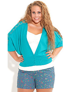Lace Trim Color Cardigan by City Chic