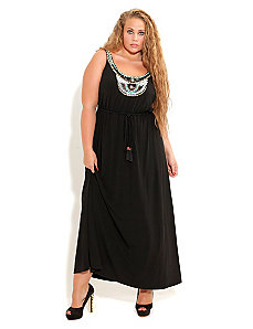 Beaded Neck Goddess Maxi by City Chic