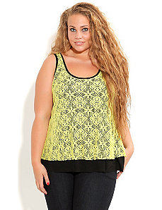 Lace Overlay Top by City Chic