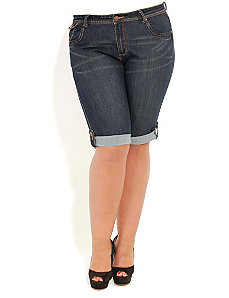 Denim Tab Knee Shorts by City Chic