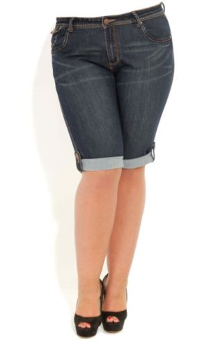 Denim Tab Knee Shorts