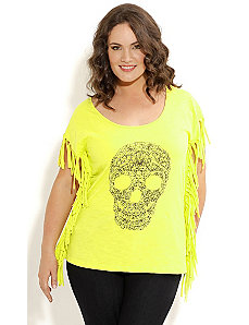Skulltastic Fringe Top by City Chic
