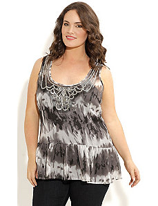 Bead Neck Tie Dye Top by City Chic