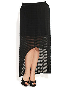 Hi Lo Sheer Stripe Maxi Skirt by City Chic