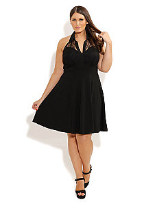 Lace Collar Skater Dress by City Chic