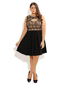 Lace Cut Out Skater Dress by City Chic