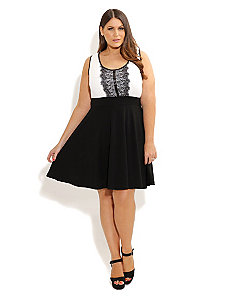 Lace Panel Skater Dress by City Chic