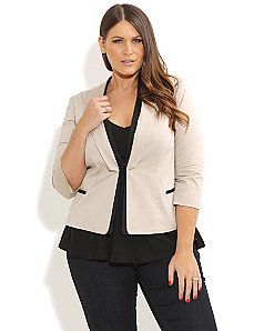 Neutral Contrast Trim Jacket by City Chic