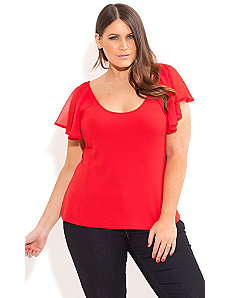 Flutter Sleeve Ponte Top by City Chic