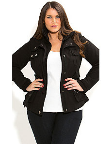 Rib Trim Utility Jacket by City Chic