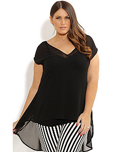 Hi Lo V Neck Top by City Chic