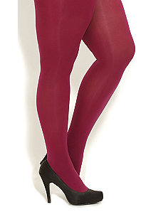 Berry Opaque Tights by CityChic