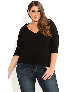 Rouched Shoulder Cardigan by City Chic
