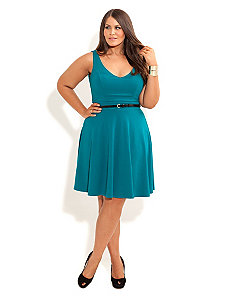 Deep V Skater Dress by City Chic