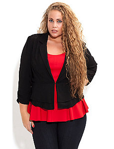 Lace Insert Drapey Peplum Jacket by City Chic