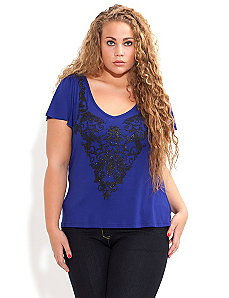 Caviar Bead Glitter Print Top by City Chic