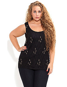 Beaded Cross Lace Top by City Chic